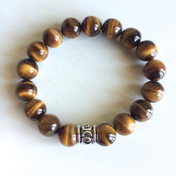 Genuine Tiger Eye Bracelet W Sterling Silver Charm 10mm