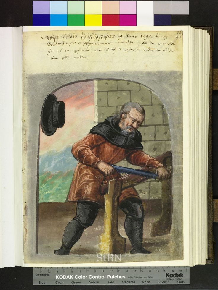 Amb. 279.2 ° Folio 63 recto 1592 Mair steht vor einem Sägebock im brasilianischen Wald …