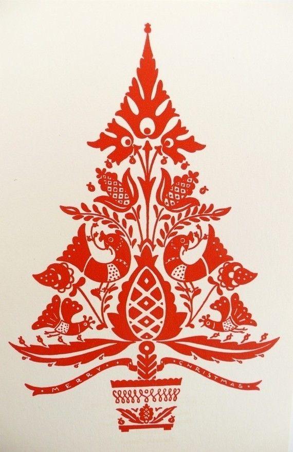 Hungarian folk art christmas card