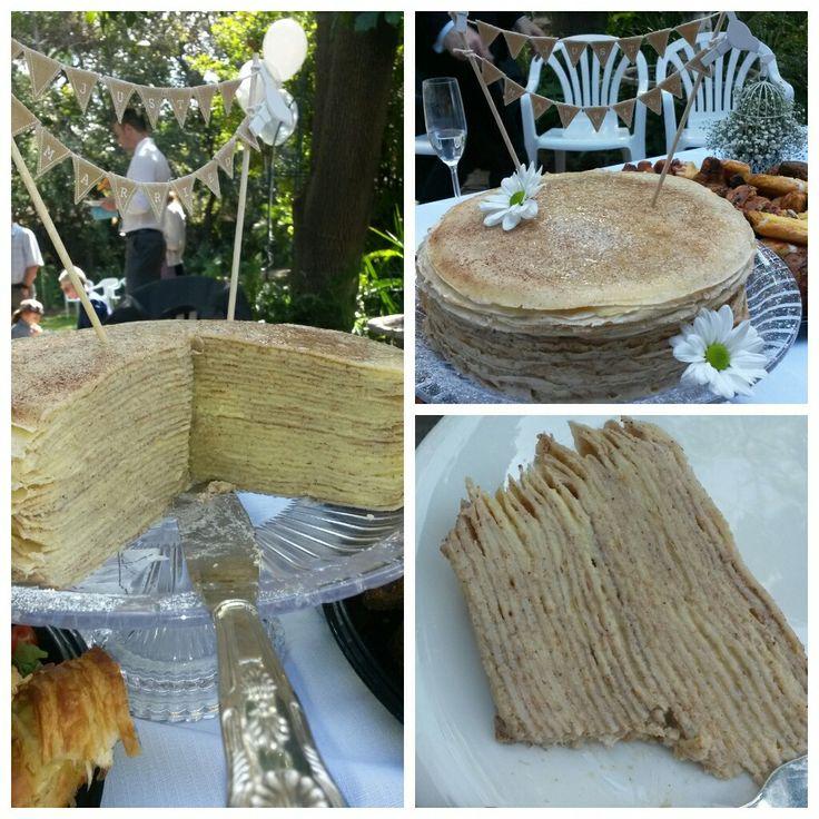 Mille-crepe wedding garden cake
