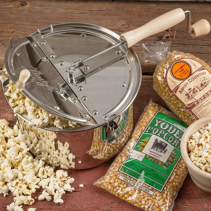 Around here, our Amish neighbors have a serious love for popcorn. This new stainless steel popper is an improved and enhanced model designed by a local Amish man. At Lehmans.com.