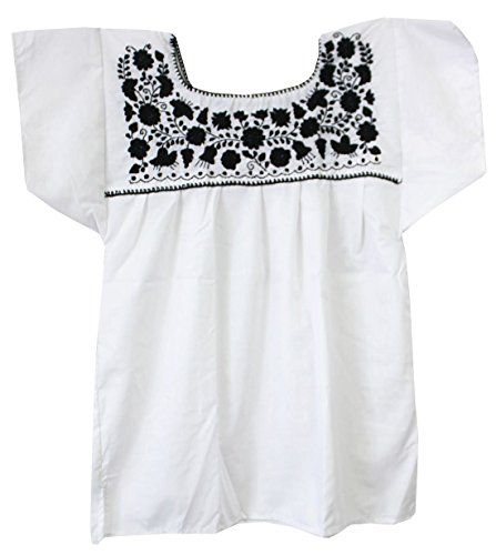 Liliana Cruz Embroidered White Peasant Blouse with Solid Color Embroidery (3X, Black)