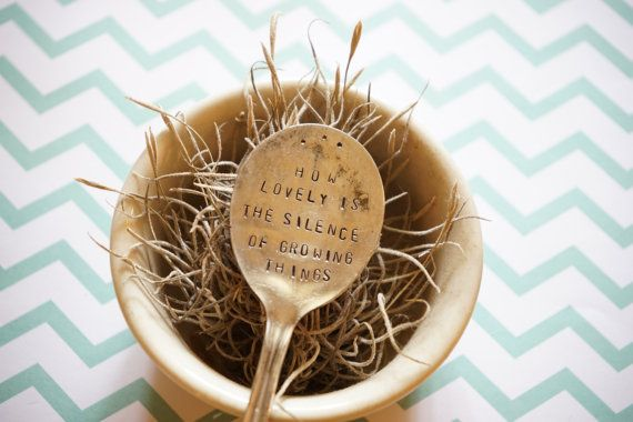 Vintage Hand Stamped Garden Marker Rustic by SweetThymeDesign Vintage Hand Stamped Garden Marker, Rustic Garden Accessory, Upcycled Antique flatware, Gardener Gift, Silver Plated Spoon, Garden Quote