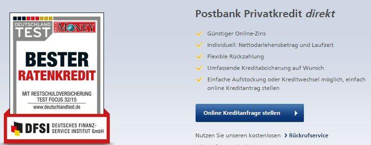 Postbank Privatkredit direkt – Jetzt mit Online-Zins ab 3,79%