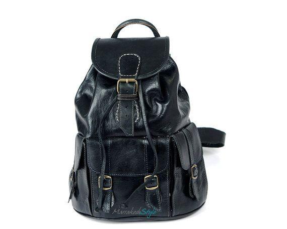 leather backpack  handmade leather bag  Black