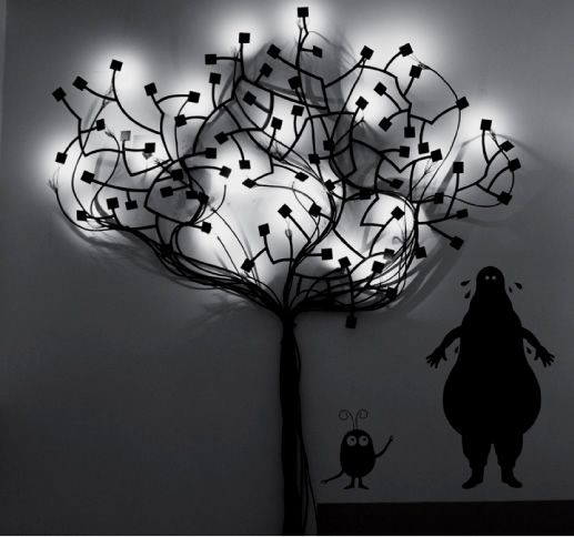 Wall tree lamp, polyurethane satiny paint finish. Height: 81 inches Width: 39 inches Source: warm white LED, electronic transformer whith interchangeable power plug-in (USA, UK, UE).