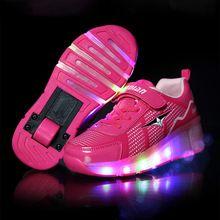 Kinderen heelys roller sneaker met een wiel led verlichte knipperende rolschaatsen kids jongen meisje schoenen zapatillas con ruedas(China (Mainland))