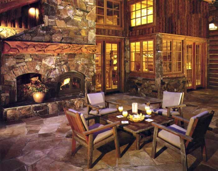 Excellent Outdoor Fireplace Designs For Extra Delights Great Rustic Style Wooden Furniture