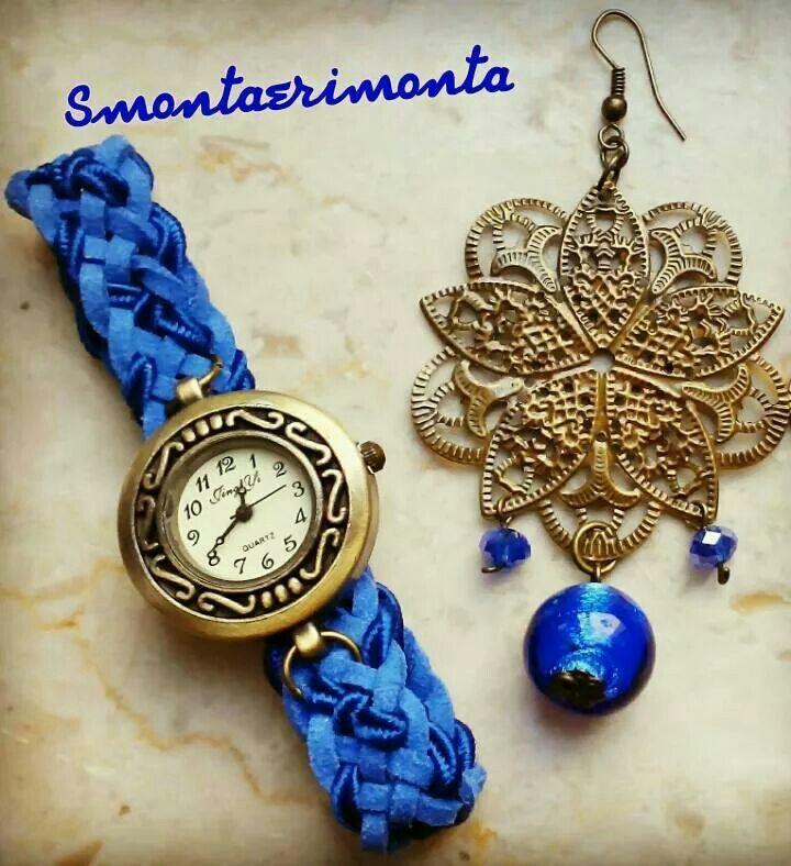 Oro-bra Orologio con cinturino intrecciato a mano e orecchini con pietre blu