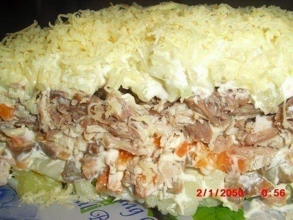 Ингредиенты:   Все ингредиенты в равных пропорциях.   картофель варёный  грибы обжаренные с луком  морковь варёная  свинина варёная  ог...
