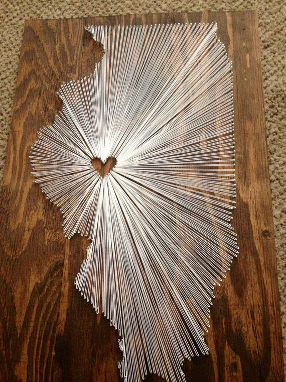 State String Art-Illinois-Wandbehang-Home Decor – Bastelarbeiten