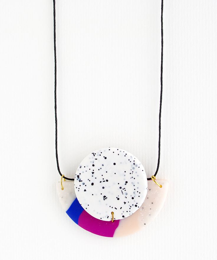 Circle & Half Moon Polymer Clay Statement Necklace - White speckle with magenta, blue and flesh pink. by colourwork on Etsy