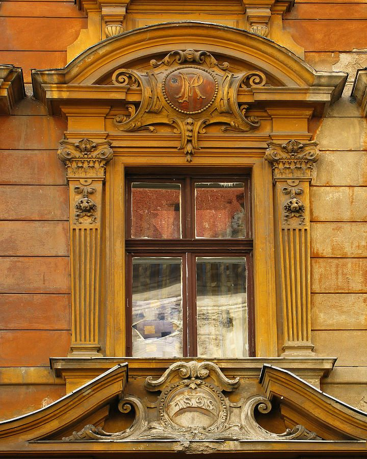 Window and Pediment in Ljubljana Slovenia by Greg Matchick ...