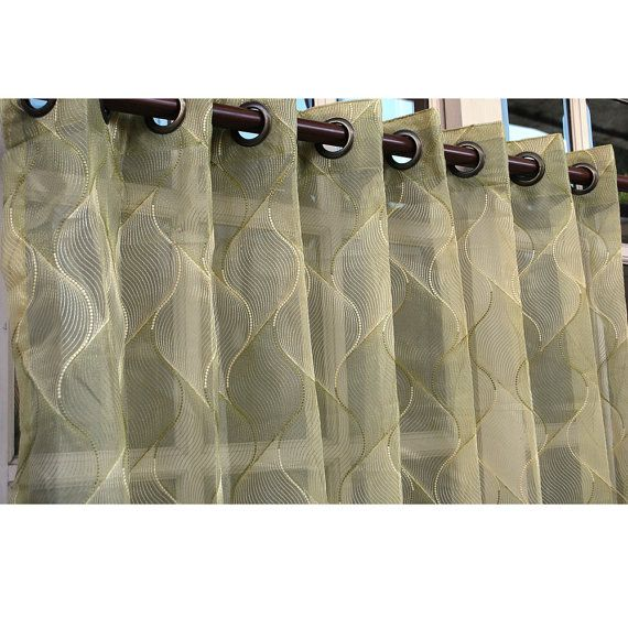 Gold Olive Green Chain Stitch Embroidery Sheer Curtain Panels 52