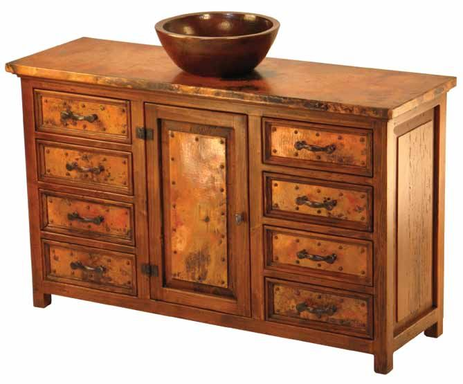 Gallery One Recycled Copper and Reclaimed Wood Vanity Eight Drawers by Woodland Creek Furniture Available Any Size u Layout Needed Matching linen u medicine cabinets