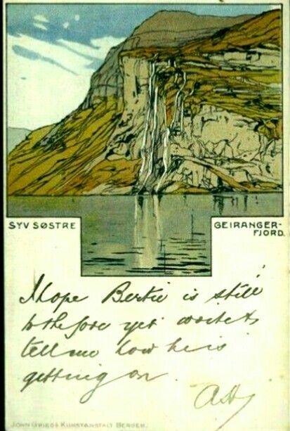 Kunstnerkort Carl Dotzler jugendstil før 1905 motiv Syv Søstre i Geiranger utg John Griegs Kunstforlag, Bergen