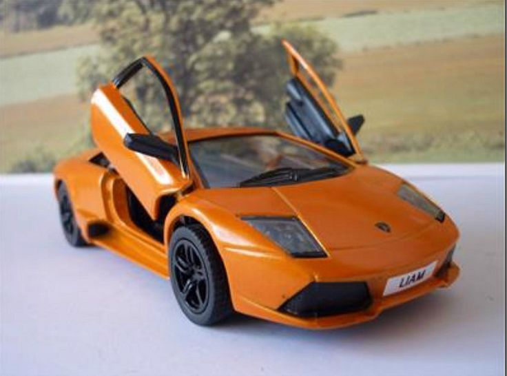 Personalised Plate Orange Lamborghini Murcielago Toy Car