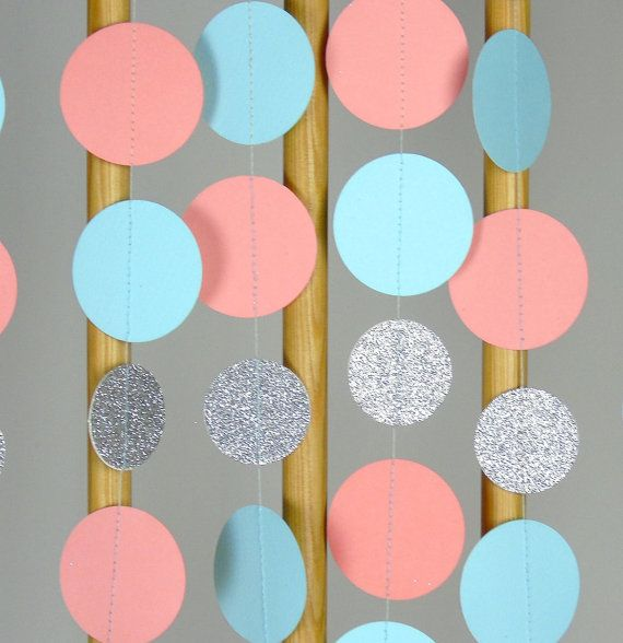 Paper Garland in Tiffany Blue, Coral and Silver, Teal, Coral and Silver, Bridal Shower, Baby Shower, Party Decorations, Birthday Decor