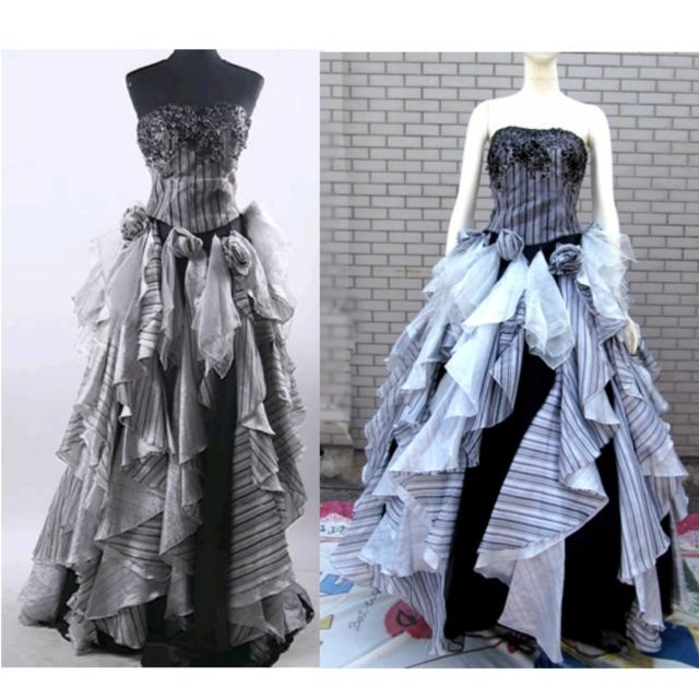 80s Black Emo Punk Formal Ball Gown