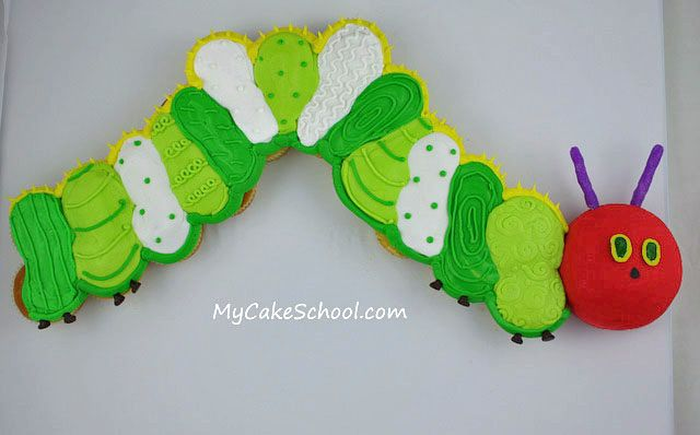 The Very Hungry Caterpillar--in cupcakes-- Blog Tutorial (mycakeschool.com)