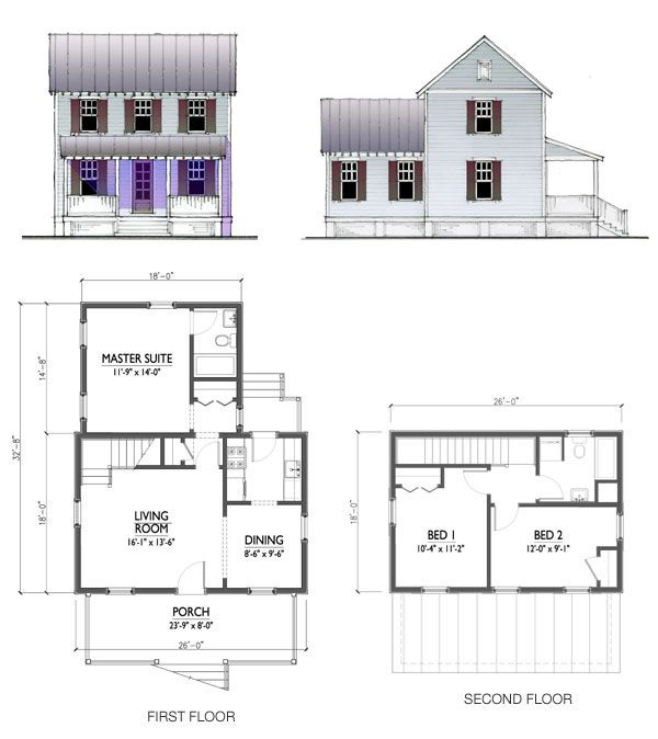 This 1200 sq ft two story design features a 3 bedroom 2 for Small house plans with master bedroom on first floor