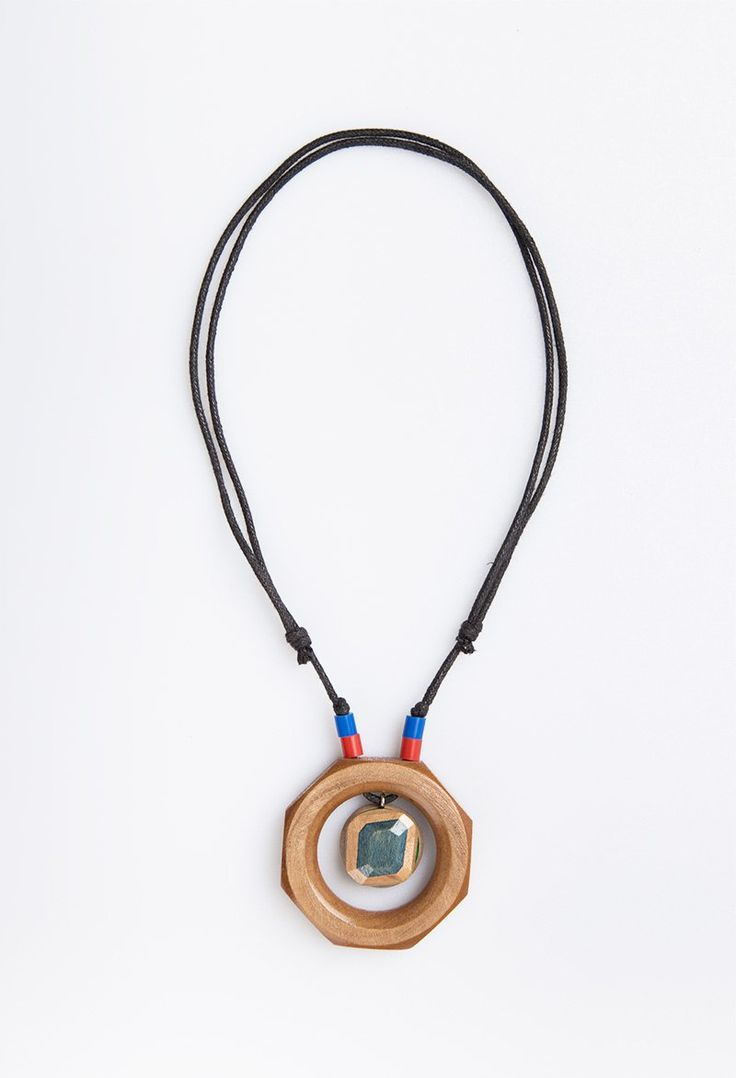 Blue Square Orbit Necklace by Kabau. Handcrafted with care and made by passion from mapplewood as material from reused skateboard. With touch of blue and red beads also with adjustable black strings.  http://www.zocko.com/z/JJylv