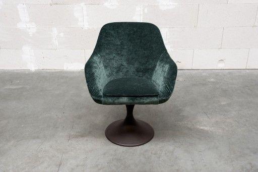 petrol velvet design chair on swivel foot