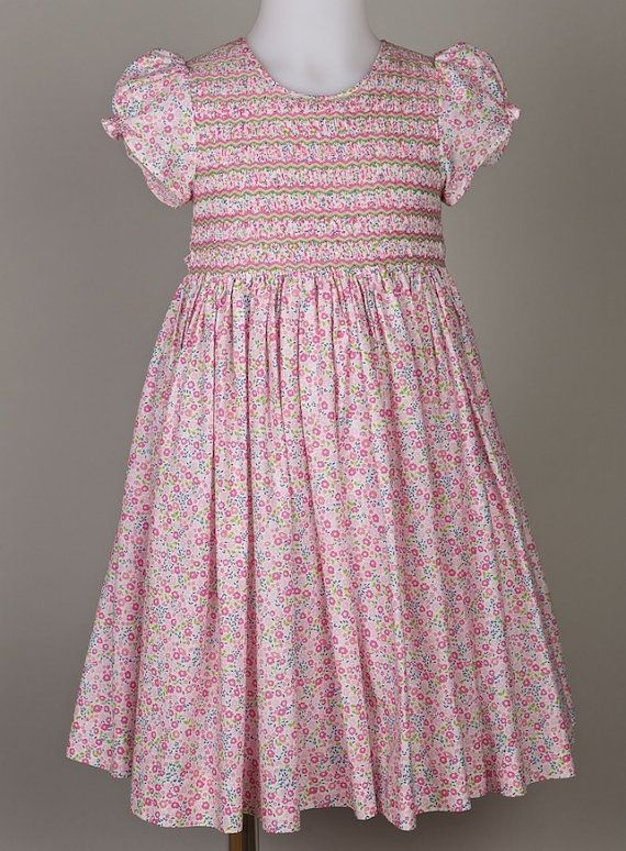 Spring / Summer smocked dress for Baby Amandine ZigZag in pink Liberty 100% cotton - l'île aux fées - handmade