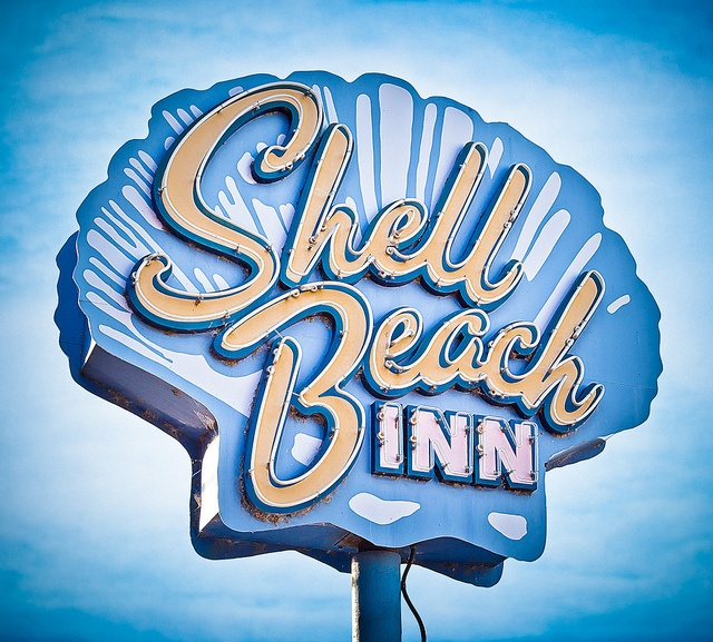 Shell Beach Inn by Shakes The Clown, via Flickr | retro vintage + sign neon…