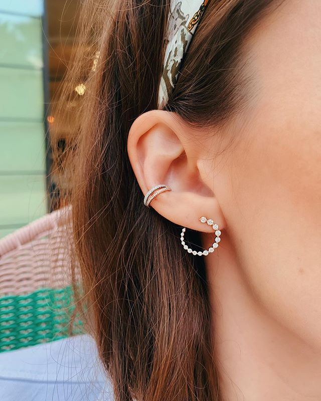 555b57c54 From top to bottom: Diamond Ear Cuff, Graduated Single Prong Circle Studs