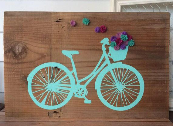 Bicycle sign with basket of felt flowers rustic wall decor for 70 bike decoration