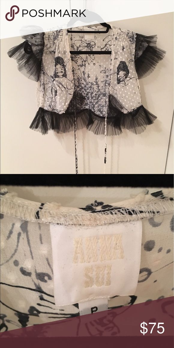 Annna Sui top Never worn black and white Anna Sui silk top with tulle detailing around the edges. Anna Sui Tops Blouses