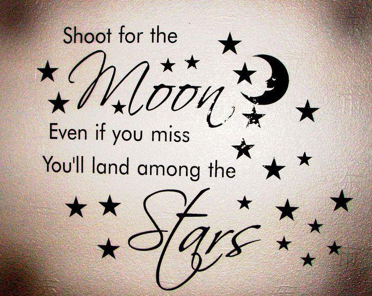 Shoot for the moon because even if you miss you will land among the stars