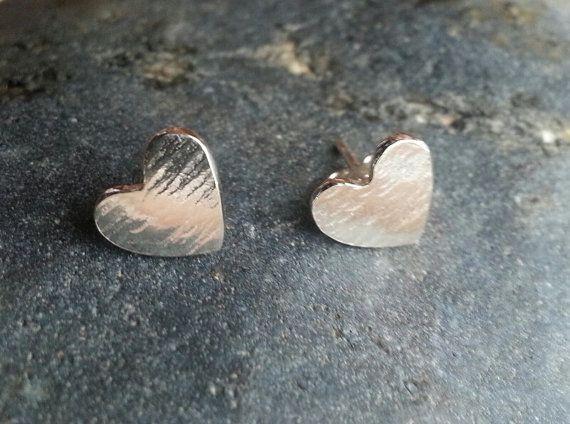 Sterling Silver 'Heart' Stud Earrings by SilverbirdDesignsUK, £12.00