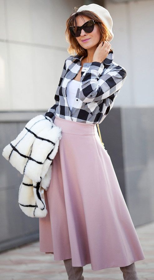 wool beret outfits | blush skirt | grid faux fur scarf | gingham shirt | midi skirt outfit | fall outfits | street style ideas for fall 2016 | Ellena Galant Girl