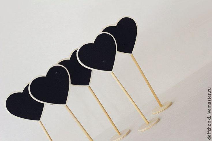 """Купить Таблички деревянные """"Сердце"""" - свадьба, таблички на стол, сладкий стол, Таблички, мел"""