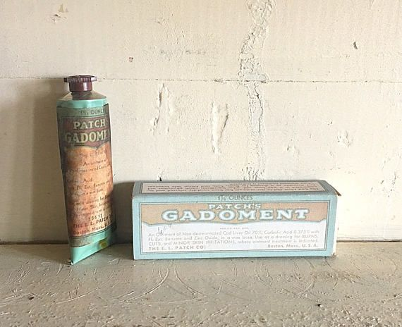Offering an interesting antique medicine called Gadoment. Created for the treatment of burns by E.L. Patch & Co. It was later deemed to be unstable. This tube is discolored a bit on one side but the box is in strong condition. Appears to have been never used. Ships from Vermont.
