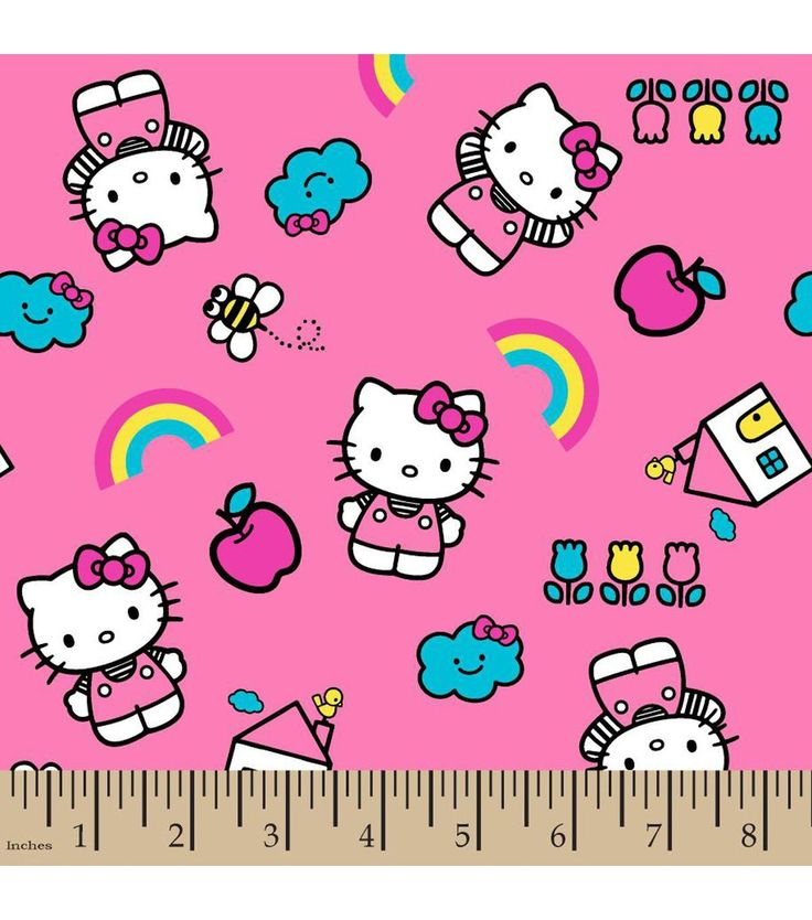 Sanrio Hello Kitty With Icons Flannel Fabric