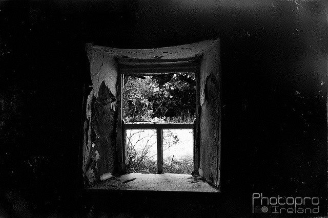 Old window by a10shunseeker 2011, via Flickr urban exploration urbex eire decay black and white