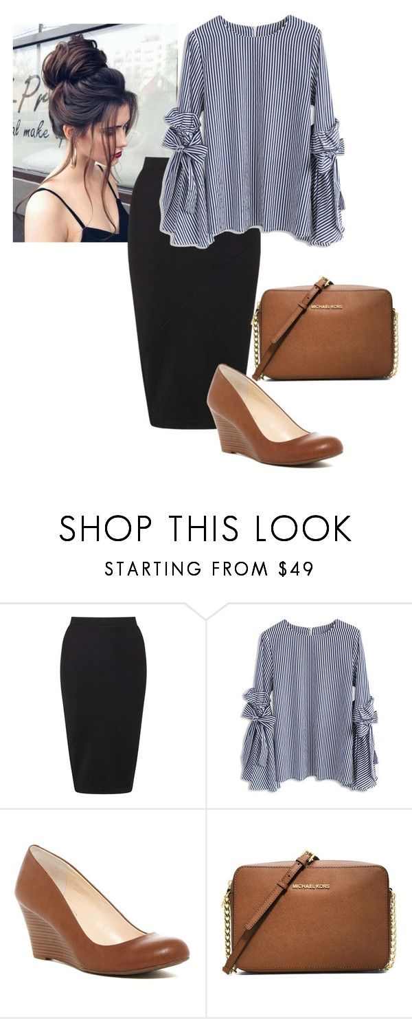 """Bow Bell"" by ohraee019 ❤ liked on Polyvore featuring Miss Selfridge, Chicwish, Jessica Simpson and MICHAEL Michael Kors"