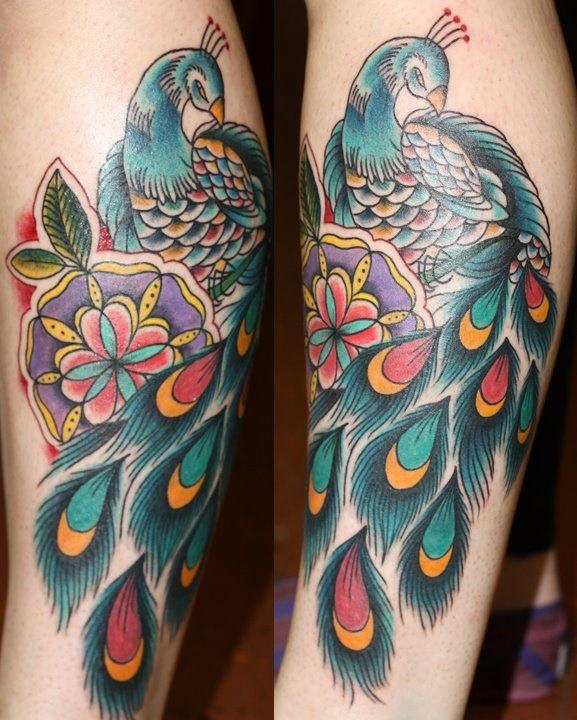 23 best tattoo traditional birds images on pinterest for Traditional peacock tattoo