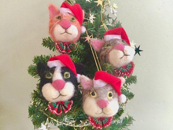Set of 4 Handcrafted Felt Christmas Decorations
