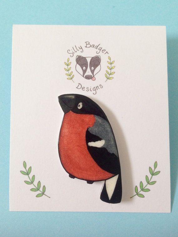 Goudvink wilde vogels illustratie Shrink kunststof Pin broche