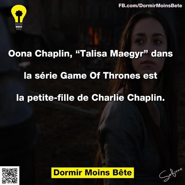 """Oona Chaplin """" Talisa Maegyr"""" dans la série Game Of Thrones est la petite fille de Charlie Chaplin."""