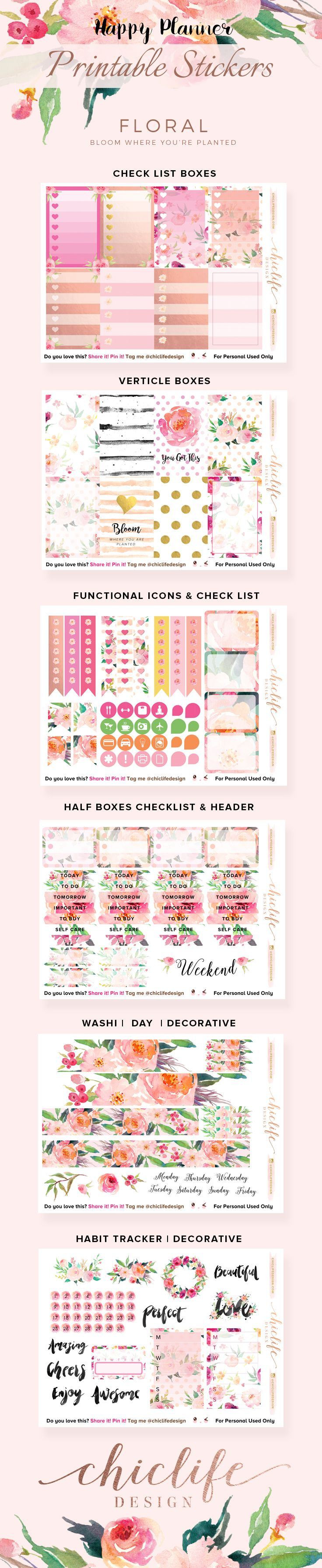Happy Planner – Floral Sticker Printable – Chic Life Design