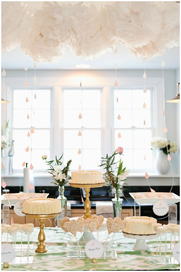 Big cloud over food table (away from wall looks good). Change colors obviously. Small different styles of cakes are very cute!