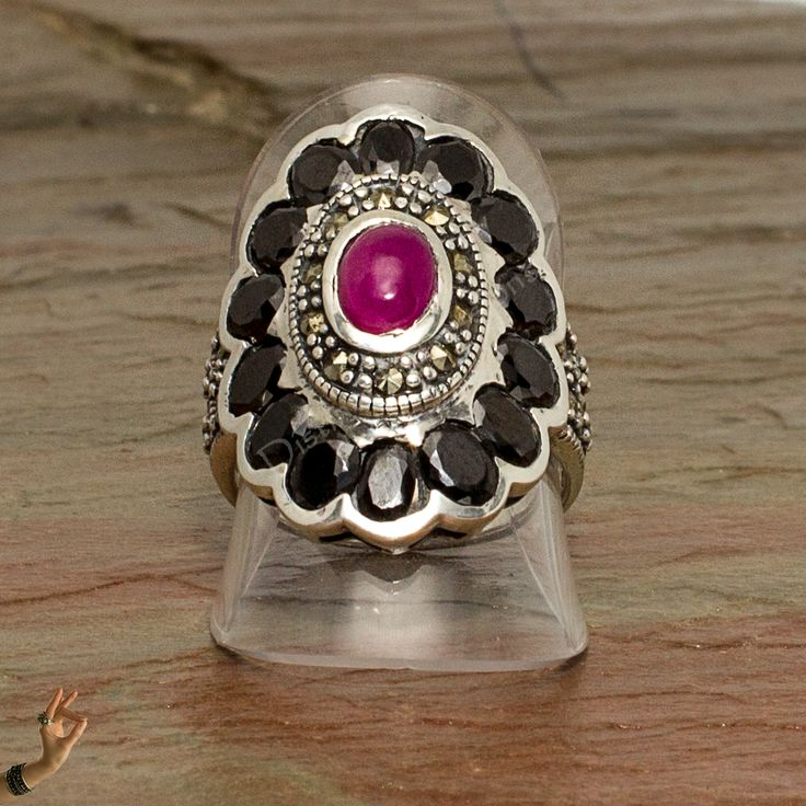 Onyx and ruby marcasite ring