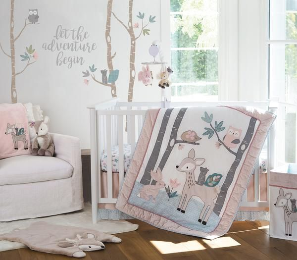 Dust Ruffle Levtex Baby Night Owl 5 Piece Crib Bedding Set Quilt Diaper Stacker and Large Wall Decals 100/% Cotton Crib Fitted Sheet