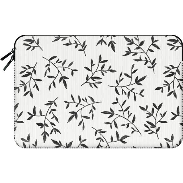 BLACK LEAVES - Macbook Sleeve ($60) ❤ liked on Polyvore featuring accessories, tech accessories and macbook sleeve