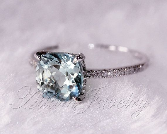 8mm cushion cut vs aquamarine ring micro pave hsi diamond engagement ring 14k white - Aquamarine Wedding Rings